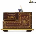 Artlivo Desk Organizer 3 Compartments Wood Desk Organizer - Brown