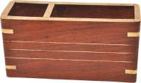 Artist Haat 2 Compartments Wood Card Holder (Brown)