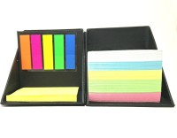 UNIQUE COLLECTIONS 3 Compartments Card Board Pen Stand With Sticky Notes (Black)