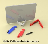 Power Plus 2 Compartments Plastic Mobile & Tablet Stand With Stylus And Pen (White)