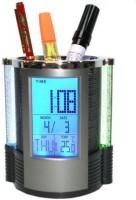 Huppme 1 Compartments Plastic Pen Stand With Digital Clock (Black, Silver)