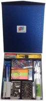 Y.E.S Office 3 Compartments Hard Box Stationery Kit Box (Blue)