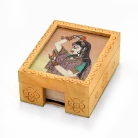 Little India HCF361 1 Compartments Wood Visiting Card Box (Brown)