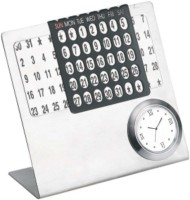 Excelencia Modern Office 1 Compartments Metal Calender With A Clock (Silver)