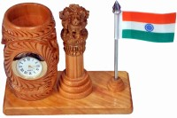 Craft Trade 1 Compartments White Wood, Stainless Steel Pen Stand Pawati With National Flag, Ashok Pillar And Analog Watch(4 In 1) (Light Brown)