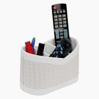 Belmun Woven Pattern - White 3 Compartments Hard Board Remote Control Holder (White)
