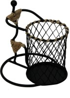 Aesthetic Decors Earth 1 Compartments Iron, Cane Pen Stand (Black) - DKOE3QA3JRA99RGB