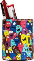 TheCrazyMe Monster Pattern 1 Compartments Eco-Friendly Leatherette Pen Stand (Multicolor)