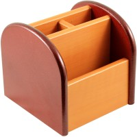 RadiusIn YS 3 Compartments Wooden Pen Stand (Brown) - DKOE34FEQHB5ZSKW