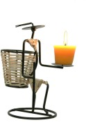 Aesthetic Decors Earth 1 Compartments Iron, Cane Pen Stand (Black)