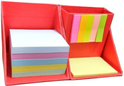 Weltbild 3 Compartments Card Board Pen Stand With Multi-Color Sticky Notes (Red)