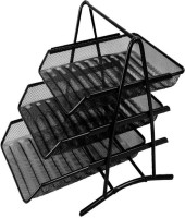 Deli Desktop 3 Compartments Metal Tray File Holder (Black)