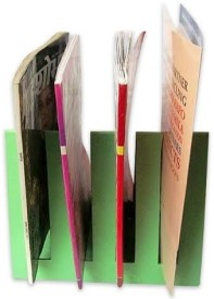 Indha Craft IC Recycled Paper 4 Compartments Card Board Magazine Holder - Green