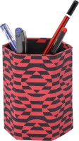 Rajrang 1 Compartments Cardboard Paper Pen Stand (Red)