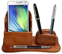 Onlineshoppee 2 Compartments Wooden Mobile & Pen Holder (Brown)