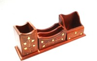 Pindia Desk Organizer 4 Compartments Wooden Pen Stand (Brown, Gold)