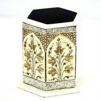 Chinar Paper Crafts CPC 234 1 Compartments Wood Pen Holder (Black, Gold)