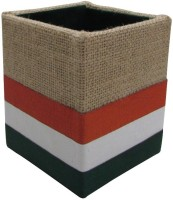 Indha Craft 1 Compartments Jute, Polyster Pen Stand (Multicolor)