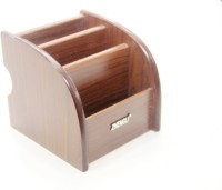 Star Gift Multifunction Holder 3 Compartments Wooden Pen Stand (Brown)