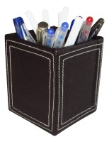 Indha Craft 1 Compartments MDF, Raxine Pen Holder (Brown)