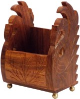 Craftsman 1 Compartments Wooden Mobile Phone Holder (Brown)