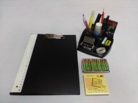 Y.E.S 1 Compartments Polypropelene Student Clip Board With Accessories (Black)