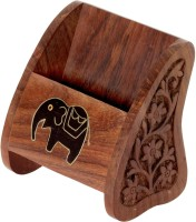Pindia Stand-Awsome 1 Compartments Wooden Pen Holder (Brown, Black, Gold)