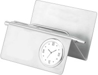 Excelencia Modern Office 2 Compartments Metal Table Clock With Visiting Card Holder And Pen Stand (Silver)
