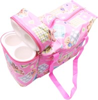 Ole Baby Premium Multi Purpose Teddy Print With Warmer Tote Diaper Bag (Pink)