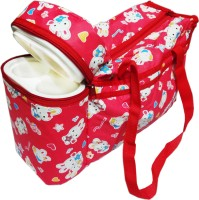 Ole Baby Premium Multi Purpose Rabbit Print With Warmer Tote Diaper Bag (Red)