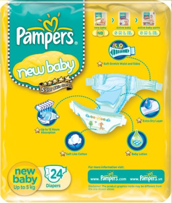 Pampers New baby Diapers Taped Newborn Size (24 Pieces)
