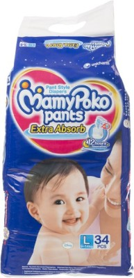 MAMY POKO PANT STYLE DIAPERS - LARGE-34 (34 Pieces)