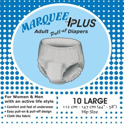 Marquee Plus Adult Pull-Up Diapers-Size 44 To 58 Inches - Large (10 Pieces)