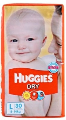 30% discount on Huggies Dry Diaper   Large (30 Pieces) for @Rs. 265 at Flipkart. com