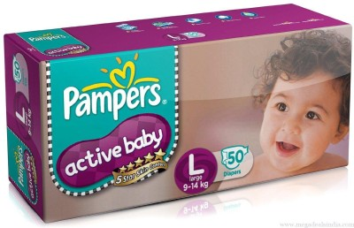 Baby Bucket Pampers Active Baby - Large (50 Pieces)