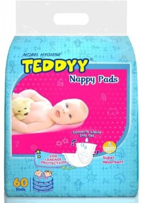 Teddyy Stay Dry Cloth Diaper - Free Size (60 Pieces)