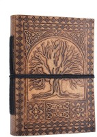 Store Indya Hand Crafted Embossed Leather Diary With Celtic Patterns Regular Journal Hard Bound (Brown)