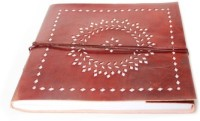 Lokalart Handmade Leather Photo Album With Floral Cutwork Pattern- Tan Brown 10.2 X 9.44 Inches Regular Visitor's Book Hand Sewn (Tan Brown)