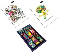 MyCopie College Life Student Yogi Interesting Character Pack Of 3 Regular Notebook Stapled (Multicolor, Pack Of 3)