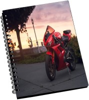 AMY Hot Red Super Speed Bike A5 Notebook Spiral Bound (Multicolor)