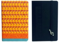 Doodle Set Of Two- A Perfect Blend Of Music And Ethnic Fashion! Why Not? A5 Diary Hard Bound (Black, Yellow, Pack Of 2)