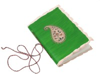 Store Indya Appealing Hand Crafted Leather With Paisley Designs Regular Journal Hard Bound (Green)