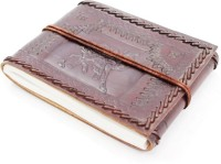 Lokalart Brown Handmade Leather Photo Album Embossed With Camel Motifs 7 X 5.5 Inches Regular Visitor's Book Hand Sewn (Brown Handmade)