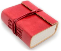 Lokalart Leather Notebook Handmade Journal Gift For Her 4.2 X 3.2 Inches Pocket-size Diary Hand Sewn (Red)