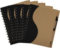 Easyhome Recycled Handmade 5 Pcs Set A5 Notebook Ring Bound (Brown, Pack Of 5)