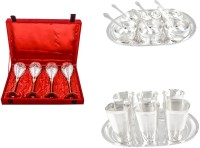 Silver Wilver 4 Prince Vine Glass, Manchurian Bowl And Square Met Finish Glass Set Pack Of 24 Dinner Set (Silver Plated)