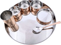 Prisha India Craft Large Dinnerware Stainless Steel Copperware Platter Pack Of 7 Dinner Set (Copper)