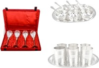 Silver Wilver 4 Prince Vine Glass, Manchurian Bowl And Amrapali Glass Set Pack Of 24 Dinner Set (Silver Plated)