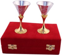 Jaipur Trade Silver And Gold Plated Mini Wine Glass Set . Pack Of 2 Dinner Set (Silver Plated)