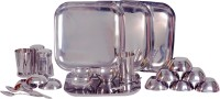 Dynamic Store Square Set Pack Of 24 Dinner Set (Stainless Steel)